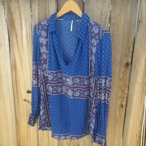"""Free People blue and purple """"Changing Times"""" tunic"""